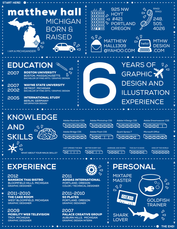 INFOGRAPHIC RESUME By Matthew Hall  Cool Looking Resumes