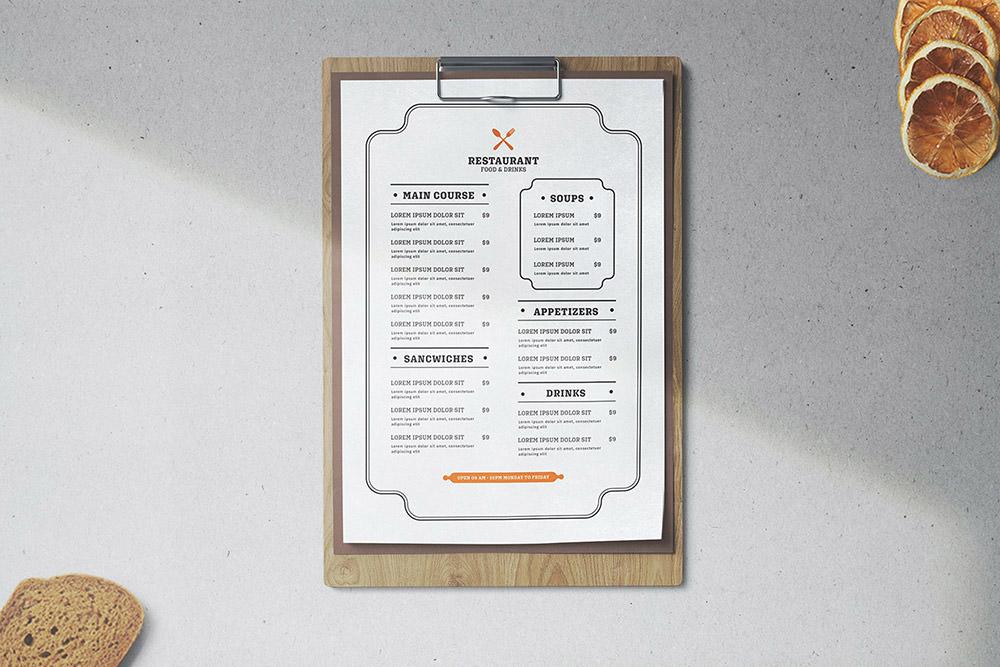 Минималистский шаблон меню ресторана от Envato