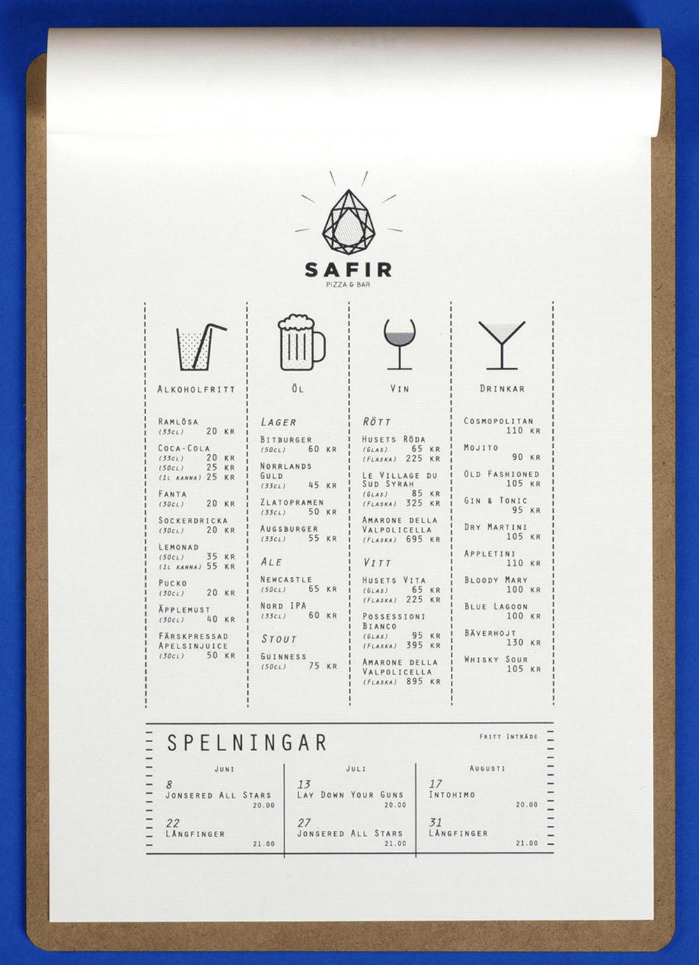 Safir Pizza And Bar Menu by Tomas Moller