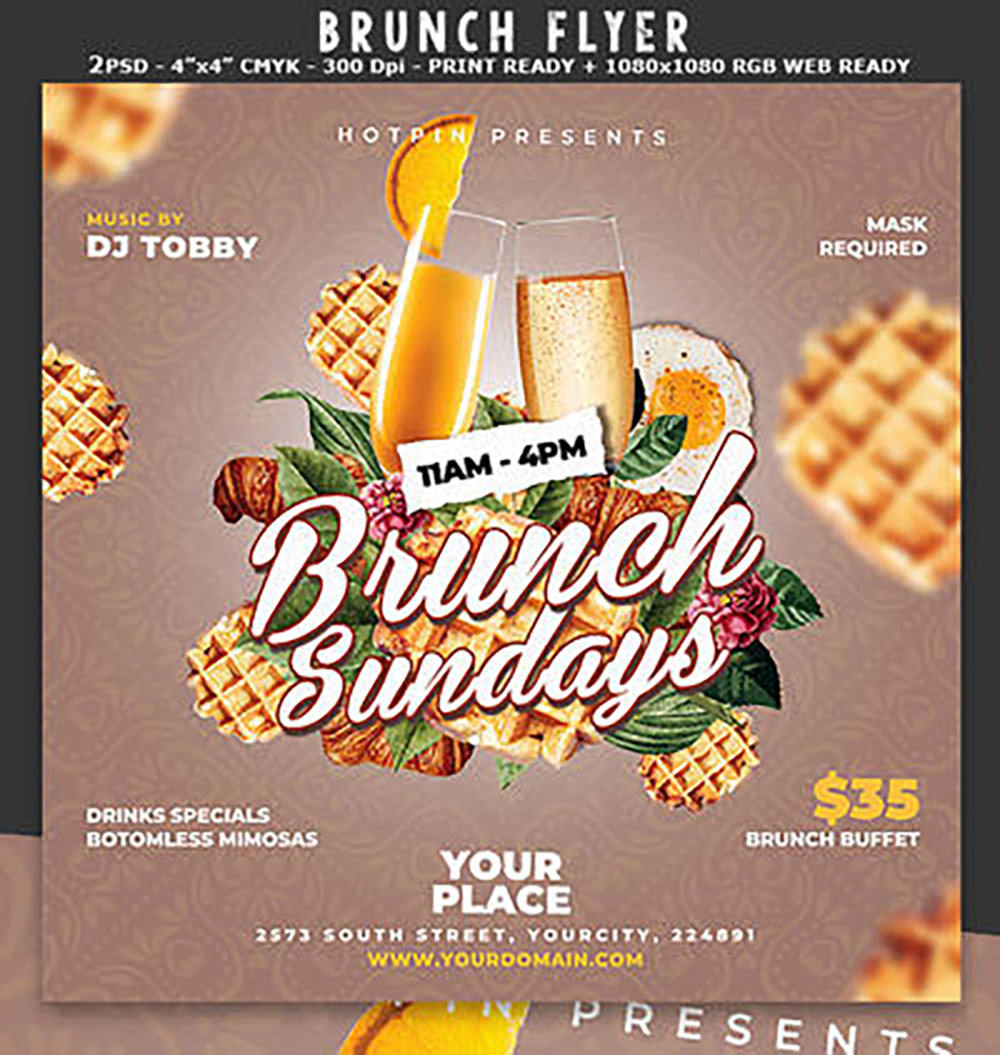 Brunch Flyer Template by Hotpindesigns