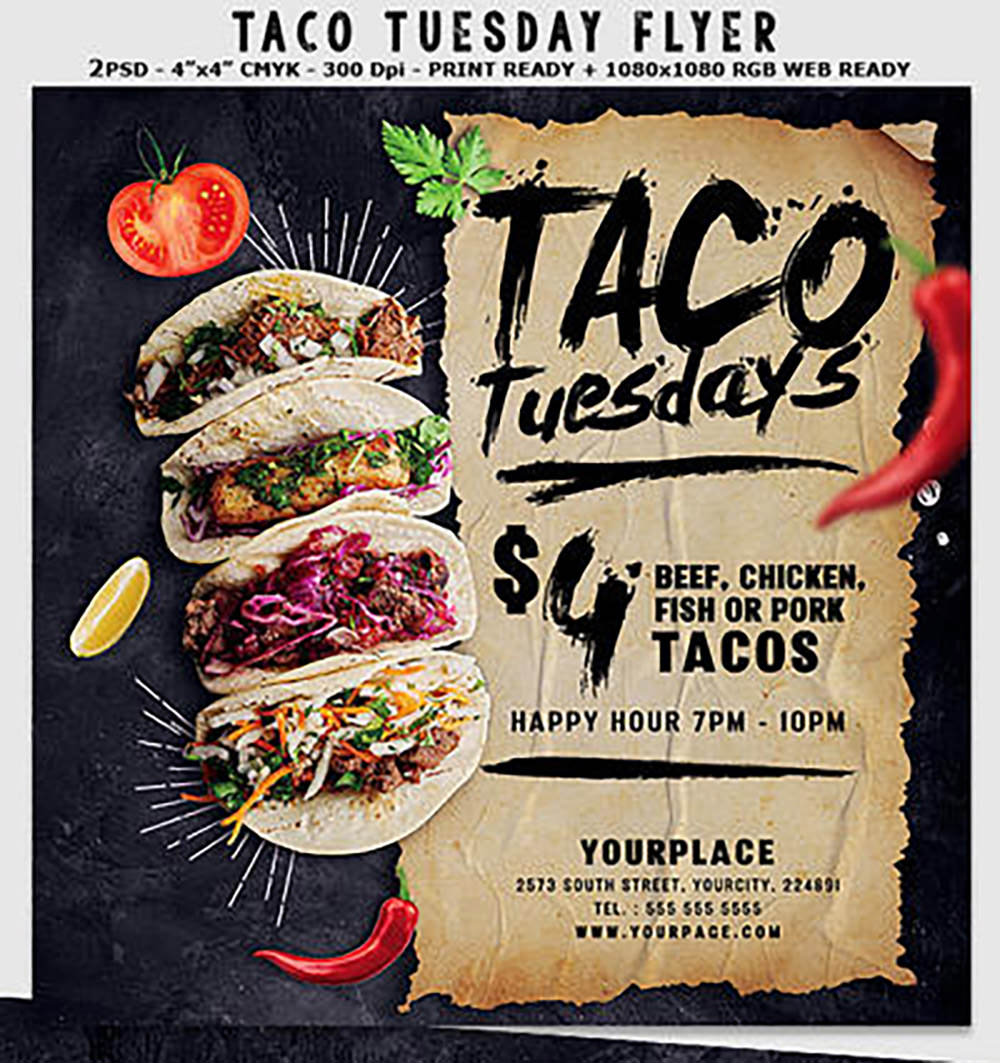 Taco Tuesday Flyer Template by Hotpindesigns