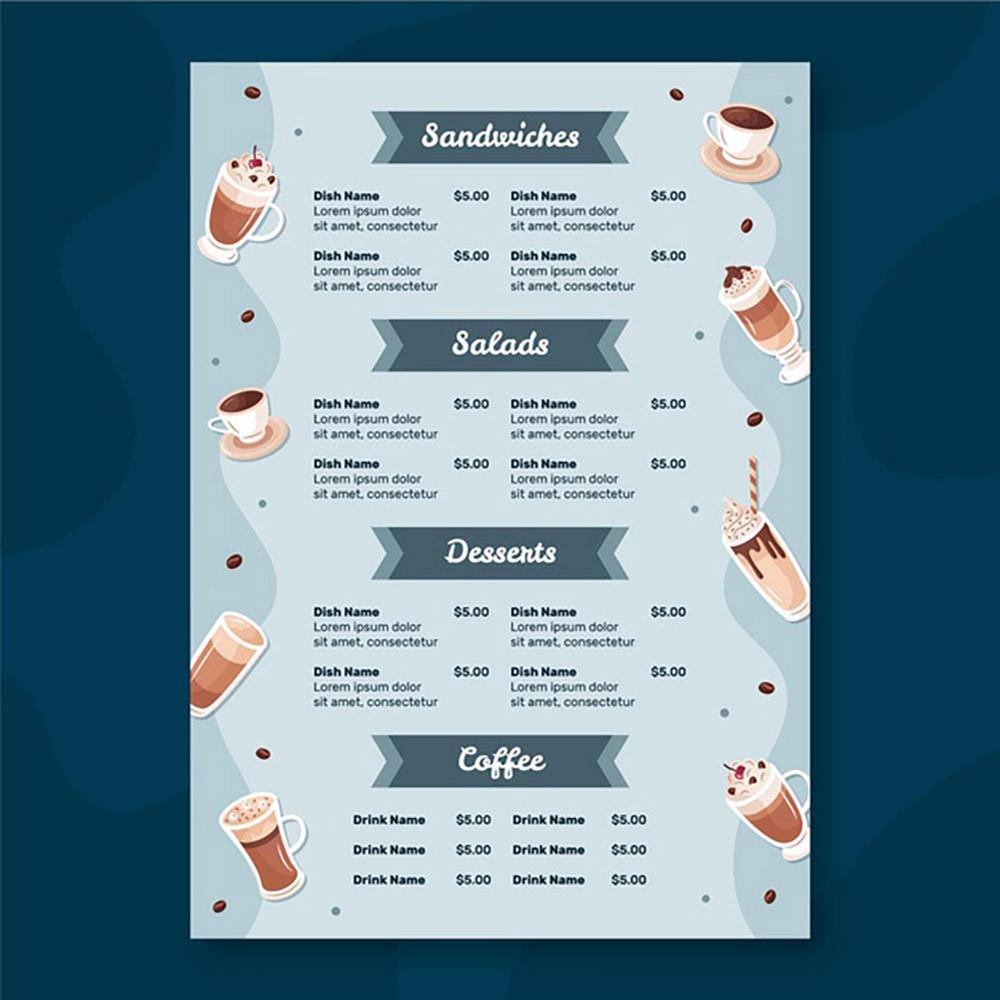 Restaurant Menu Template With Coffee by Freepik