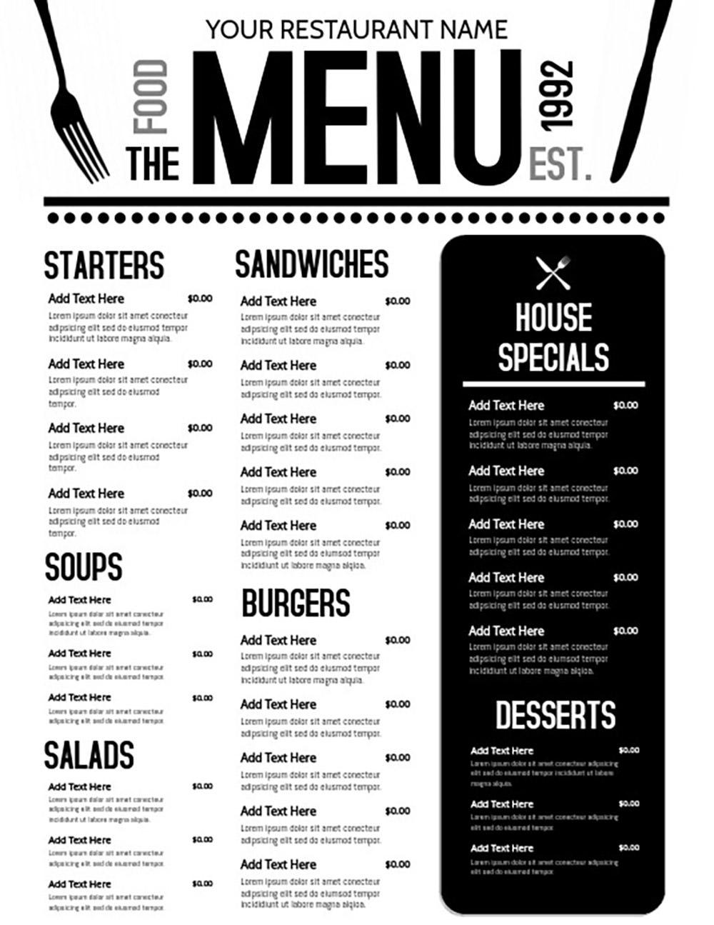 Restaurant Menu by TNT Graphics