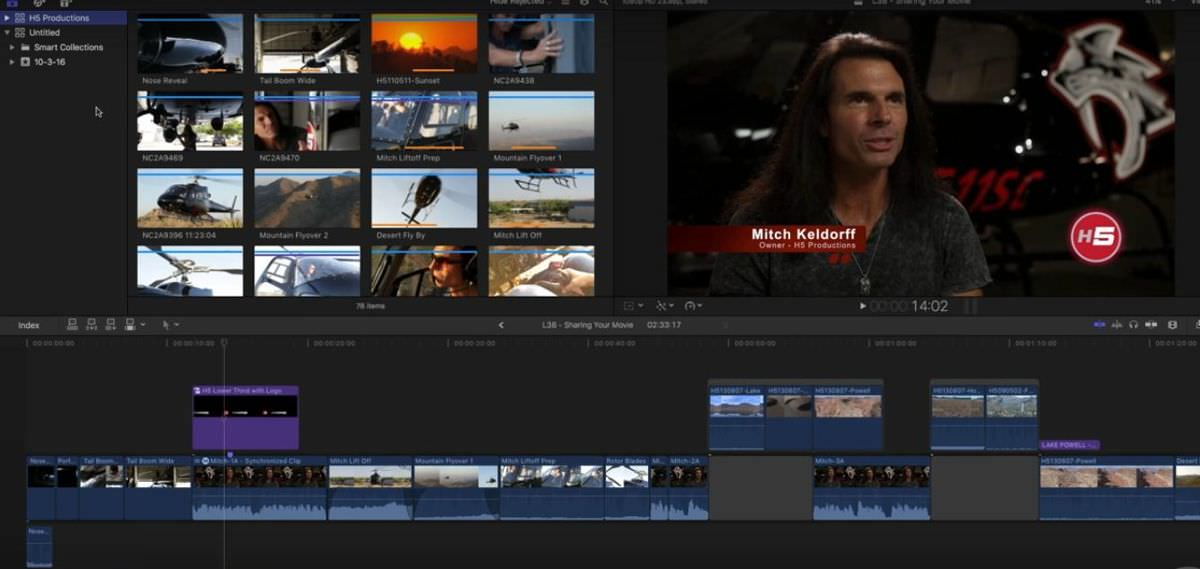Clean interface of Final Cut Pro X