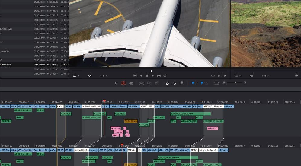 Responsive interface of DaVinci Resolve