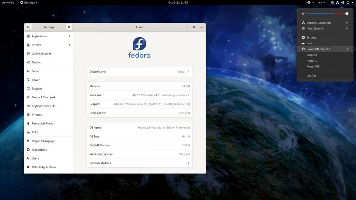 Fedora Workstation with GNOME3