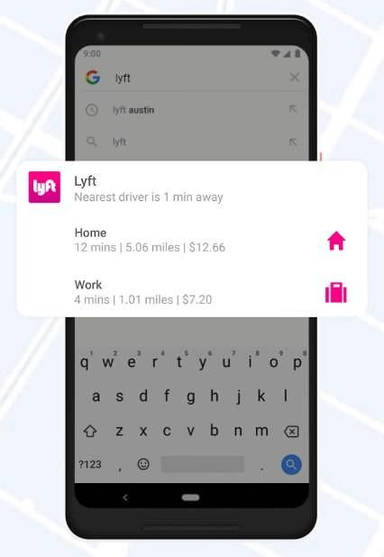 App Slice (Lyft) in Android 9 Pie