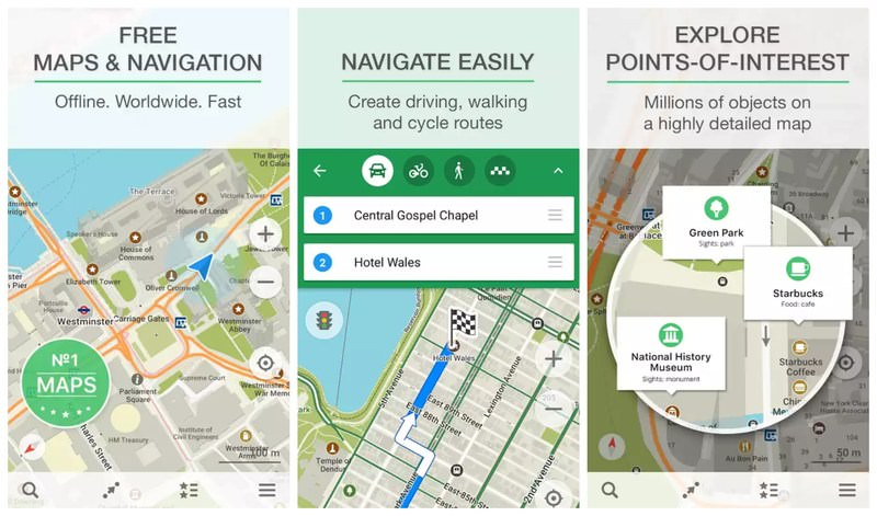 Best offline gps map apps for android ios 2017 hongkiat it also compresses downloaded maps to ensure it takes less space and the app itself is quite light although poi data and traffic data are included gumiabroncs Choice Image