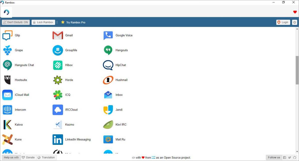 Rambox - unified messaging app for desktops