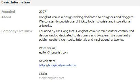 hongkiat fan page info