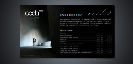 black white website design
