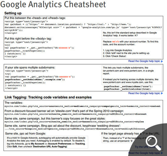 Google Analytics Cheatsheet