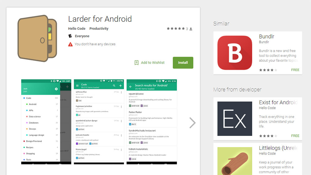Larder app for Android