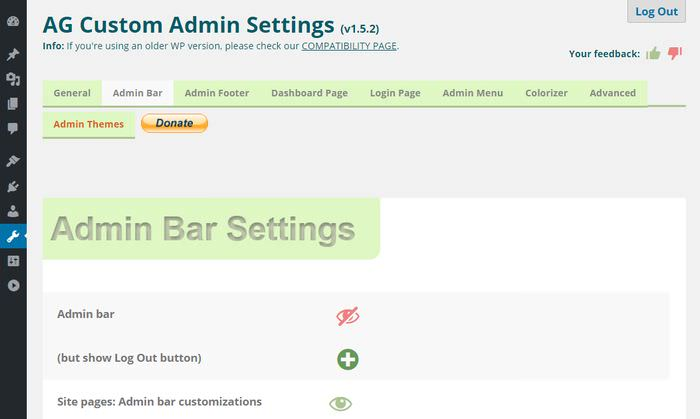 Admin Bar Settings