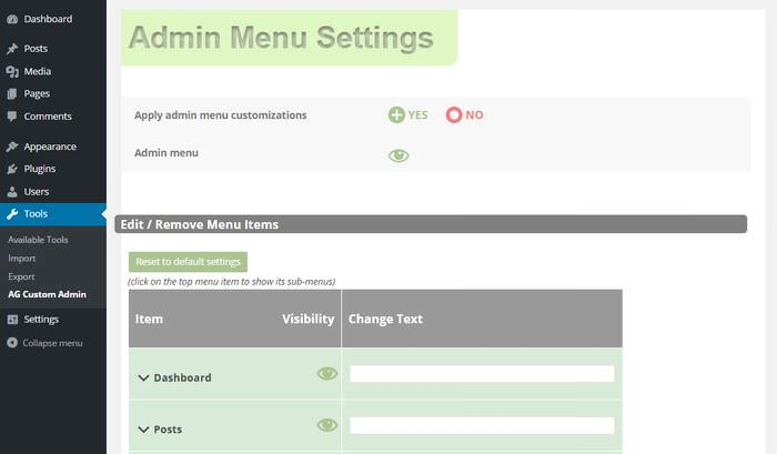 Admin Menu Settings 1