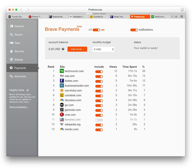 Screenshot of Brave Payments