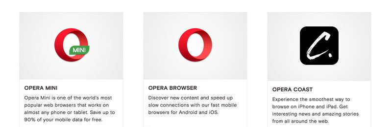 Opera mobile browsers