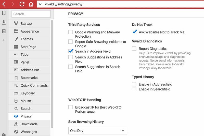 Vivaldi privacy settings page