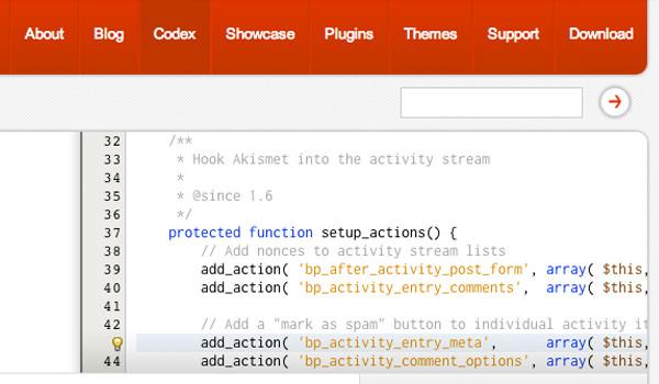 online BuddyPress bbPress codex documentation php code