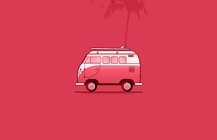 Camper van with pink color