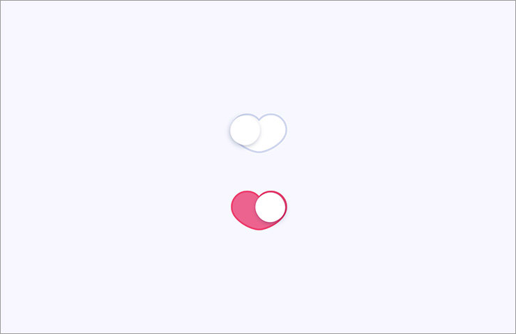 Switch UI in heart shape with pink color