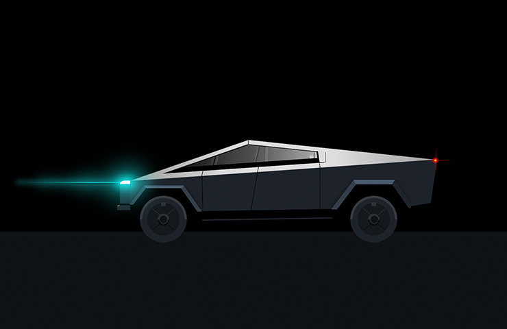 Tesla Truck on dark background