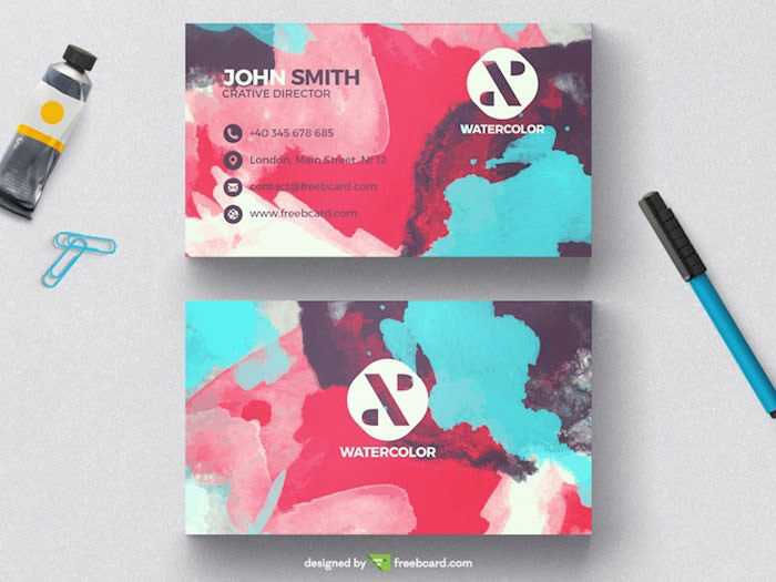 Creative watercolor business card