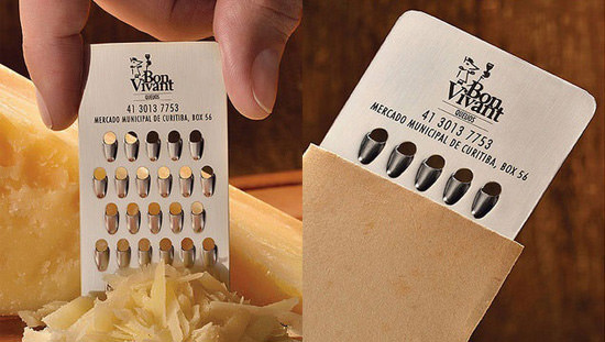 20 more business card designs that will leave an impression hongkiat bon vivant is a cheese store in brazil they hired the folks from jwt to create this grate business card it doubles as a cheese grater perfect for a colourmoves Images