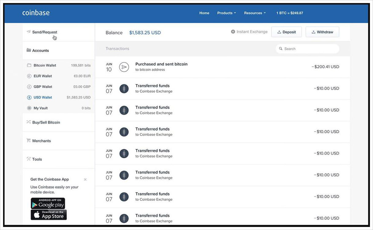 Coinbase's user dashboard