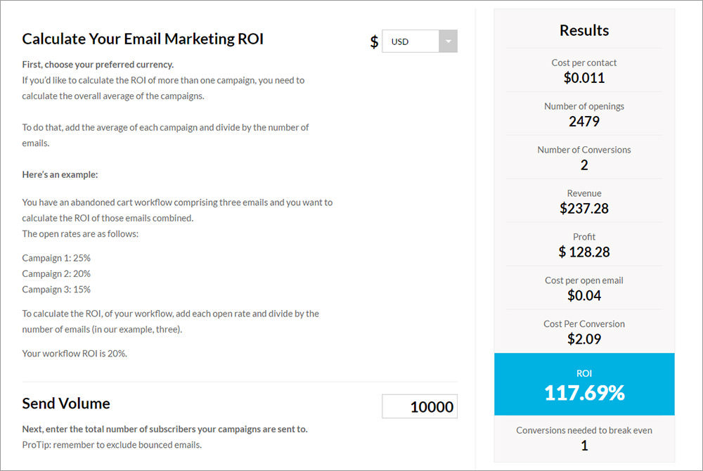 Email ROI calculator