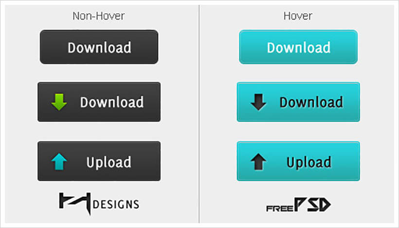 Download + Upload Buttons PSD