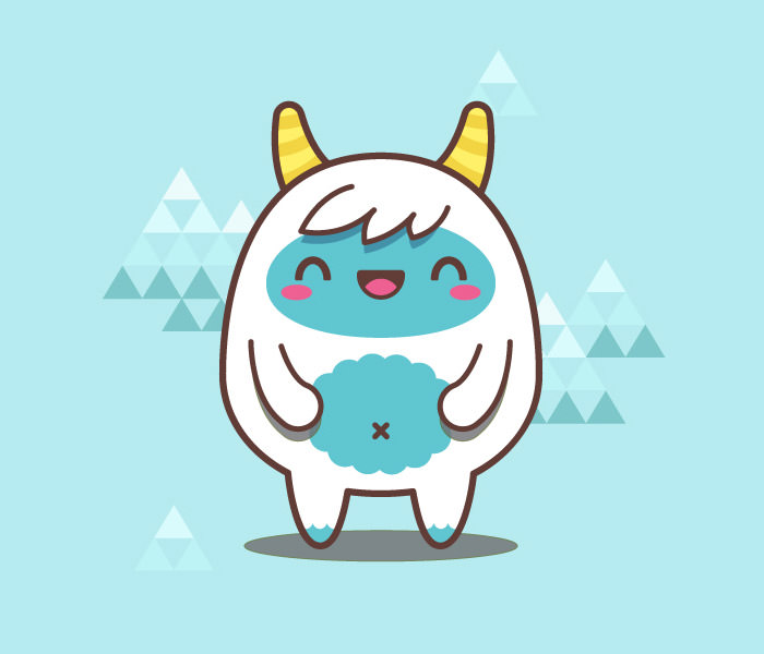simple kawaii yeti - Simple Cartoon Pics