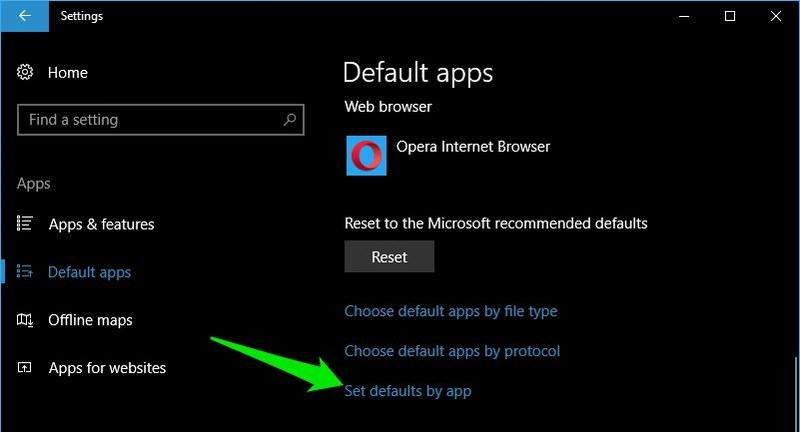 set defaults by app