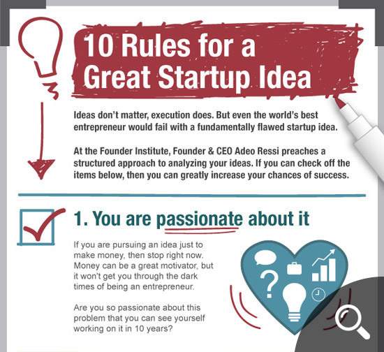10 Rules For a Great Startup Idea