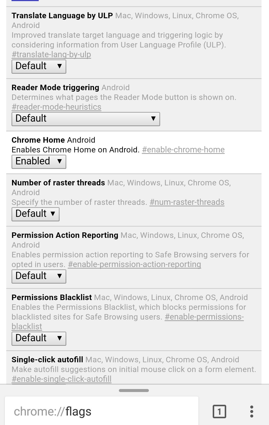 enable chrome home