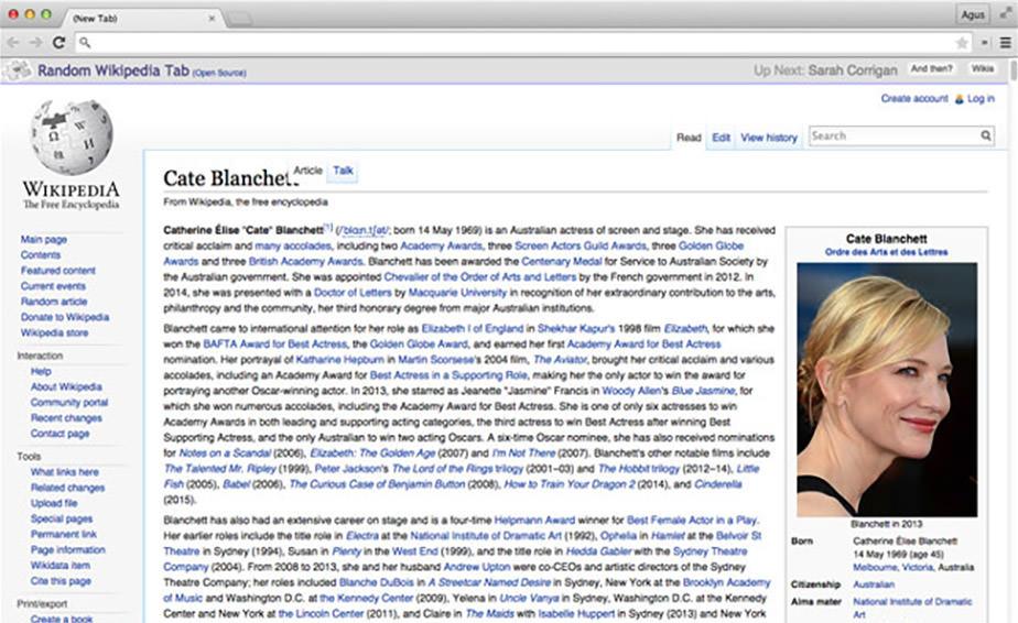 Random Wikipedia Tab