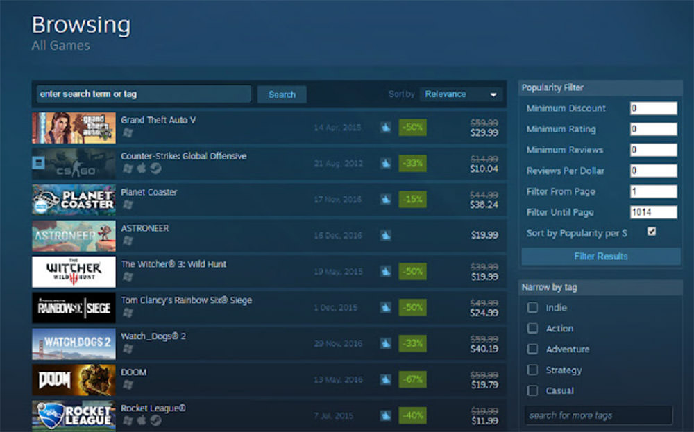 Steam Popularity Filters