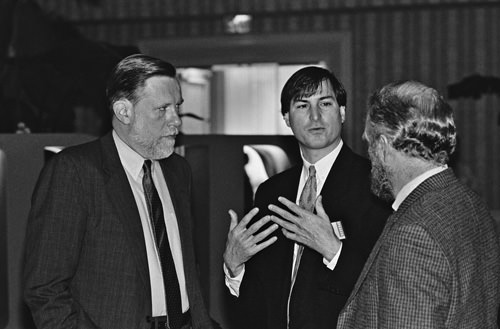 Adobe founders Chuck Geschke and John Warnock with Steve Jobs, 1985