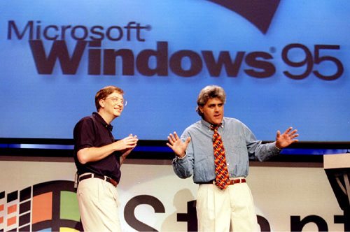 Microsoft releasing Windows 95, 1995