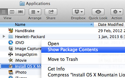 show package content