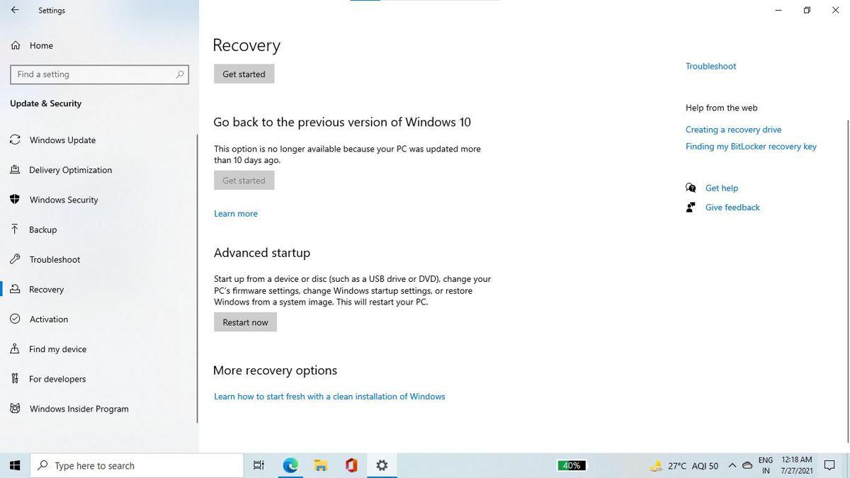 Advanced startup option in Windows Settings