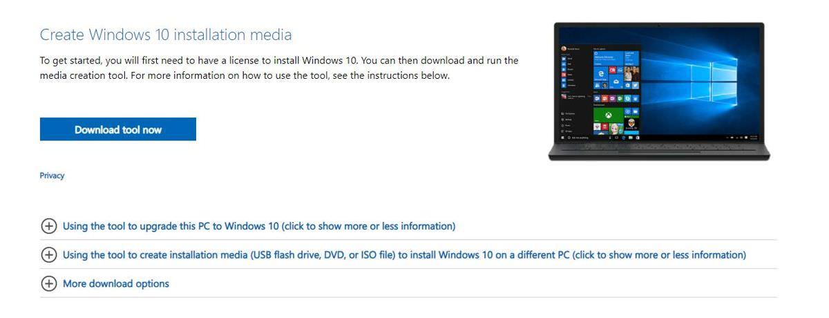 Create the Windows 10's installation media