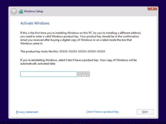 Enter your product key in Windows Setup