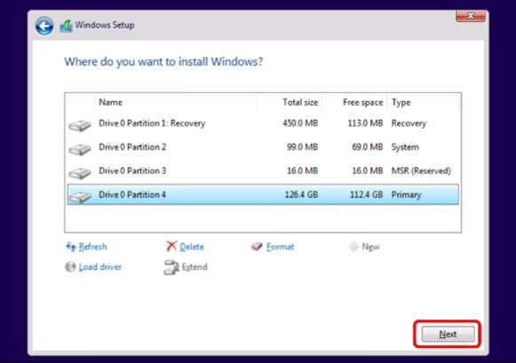 Select the drive for installing Windows 11