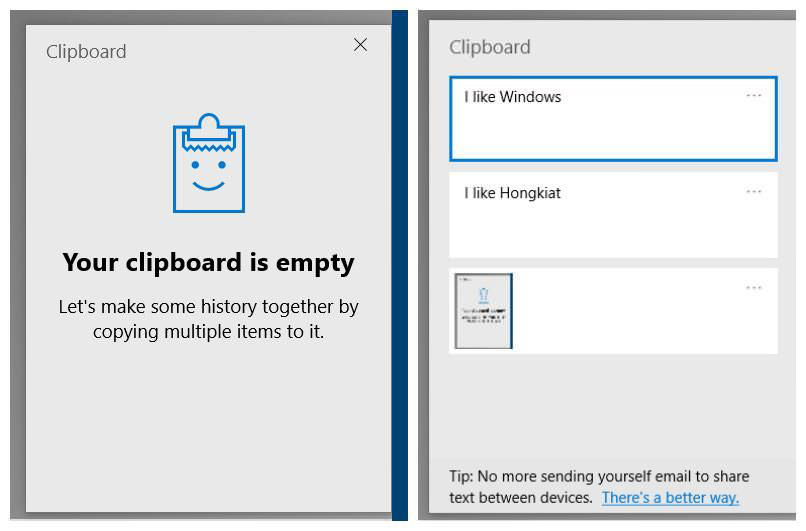 View Clipboard History in Windows 10