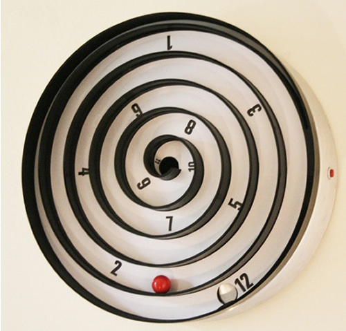 Aspiral Kinetic Clock. As the clock face turns, the red ball within rolls  slowly and tells you the time at the moment. (Image Credit: Will Aspinall &  Neil ...