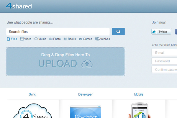 4Shared cloud file hosting homepage