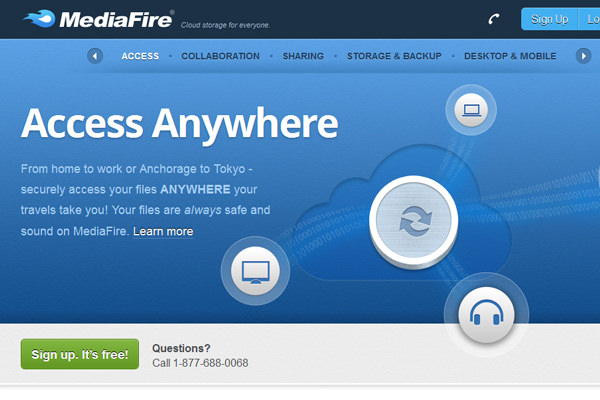 MediaFire home page file uploads website design