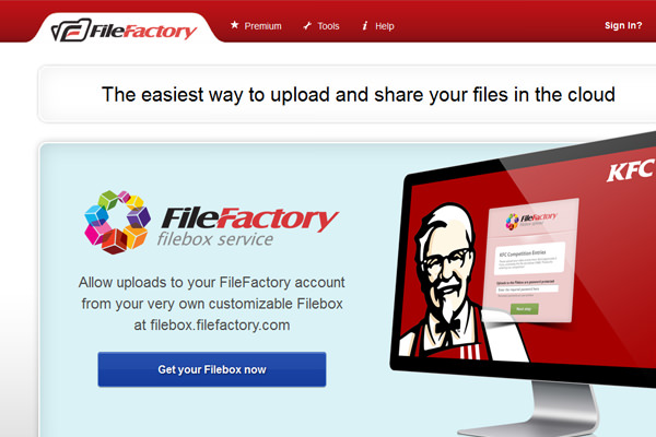 File Factory cloud hosting file sharing layout