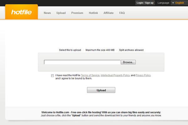 Upload file sharing hosting website layout